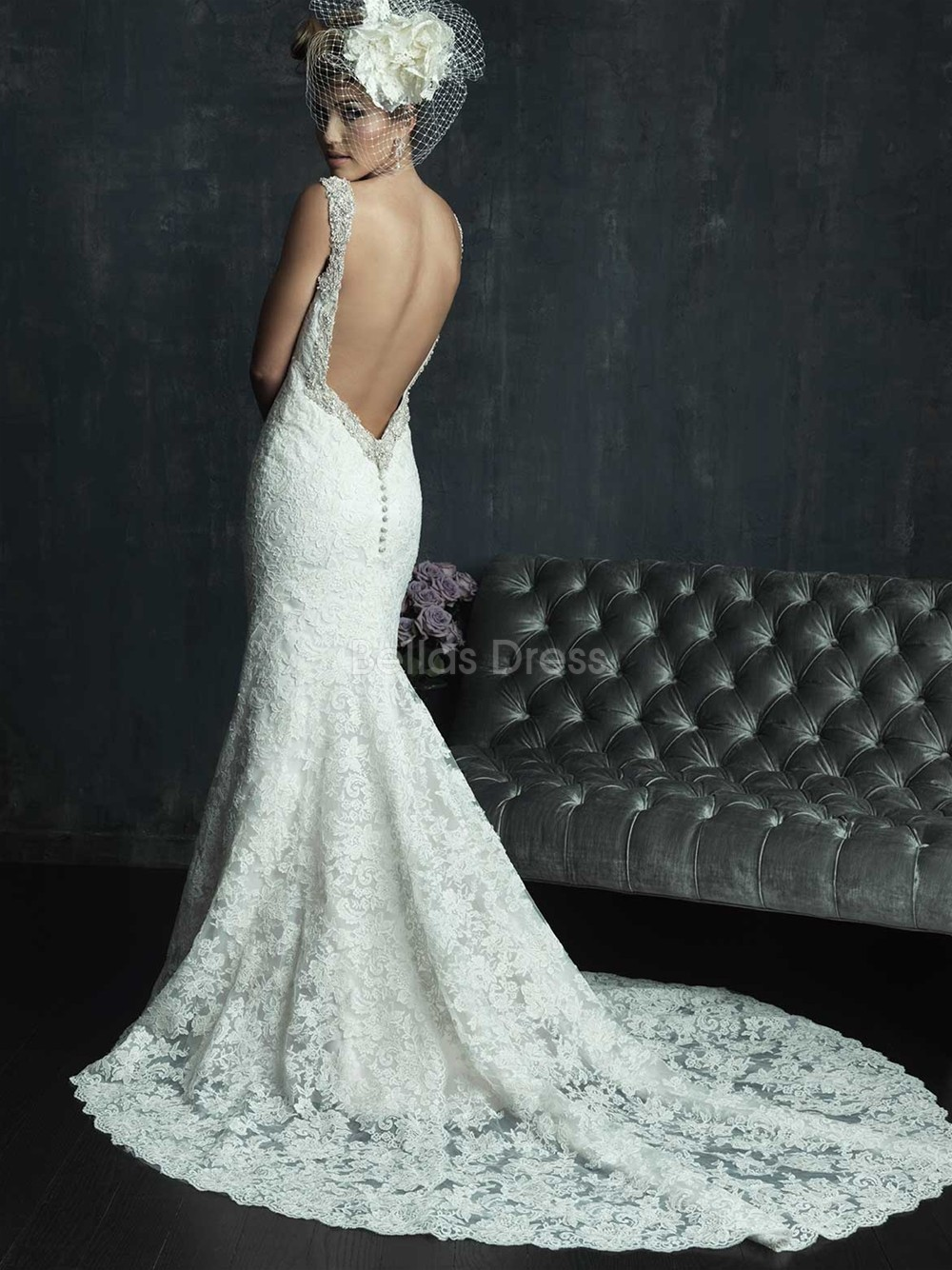Tight fitting lace wedding dress